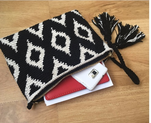 moroccan tapestry crochet clutch bag
